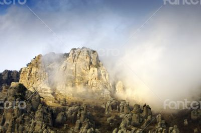 Oddly shaped rocks on foothills of mount South Demerdji in Crime