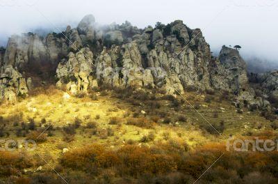Oddly shaped rocks of mount Southern Demerdji in Crimea