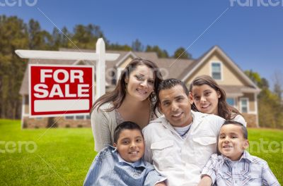 Hispanic Family, New Home and For Sale Real Estate Sign