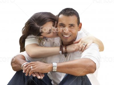 Happy Hispanic Young Couple Isolated on White