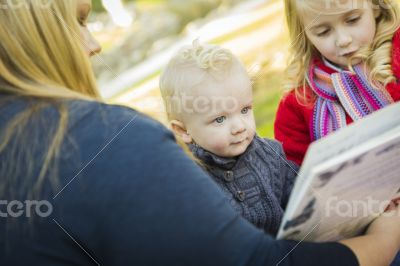Mother Reading a Book to Her Two Adorable Blonde Children
