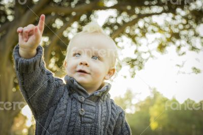 Adorable Blonde Baby Boy Outdoors at the Park