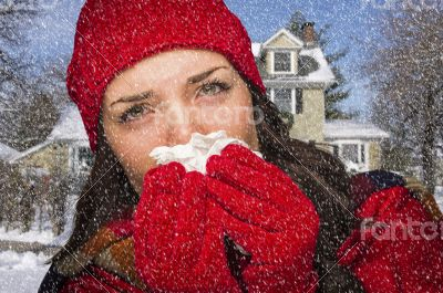 Sick Woman In Snow Blowing Her Sore Nose With Tissue