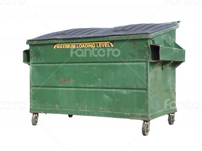 Green Trash or Recycle Dumpster On White with Clipping Path