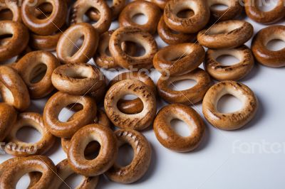 a bunch of bagels on a white background