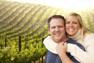 Happy Affectionate Couple at Beautiful Wine Vineyard