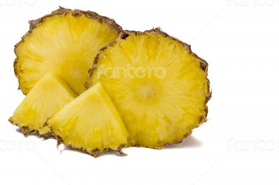 Cut off from the pineapple slices on white background.