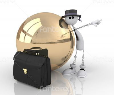 The 3D character with a gold sphere.