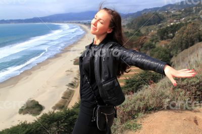 Beautiful girl in the Stinson Beach