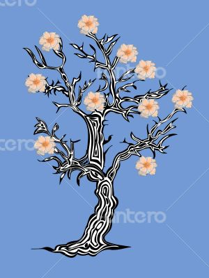 Fantastic tree with flowers on a blue background