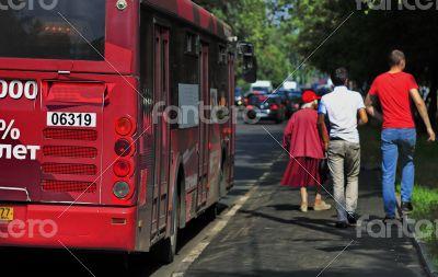 bus stop, pedestrians