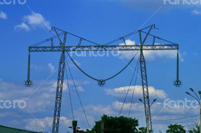 fragment of transmission lines, power lines