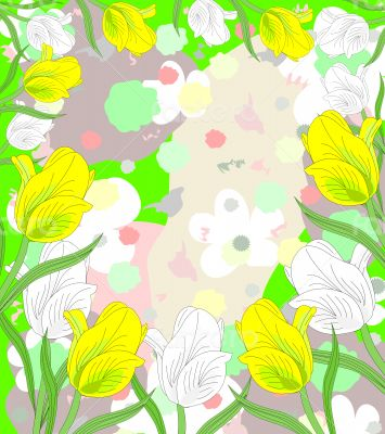 Lovely white and yellow tulips in bloom on an abstract backgroun