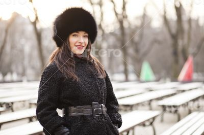 Business woman in winter city