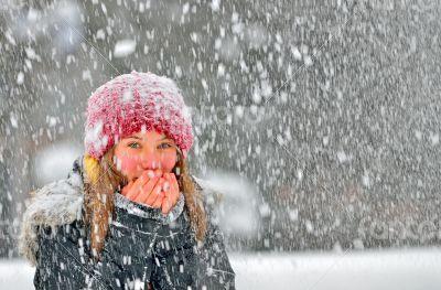 girl frozen in snow