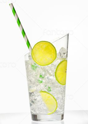 glass with juice and ice cubes