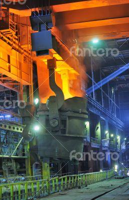red-hot molten steel