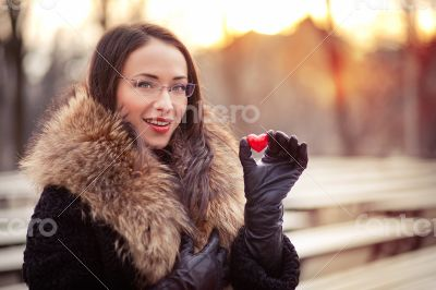 Valentines day girl on the street