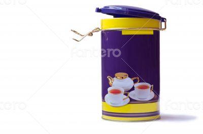 Storage box tea leaf on a white background.