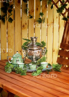 National Russian tradition to drink tea from a samovar.