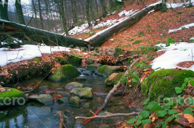 Winter is beginning at mountain river.