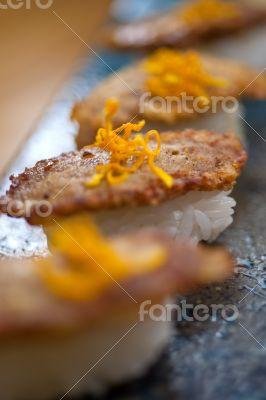 Japanese style sushi fried goose liver