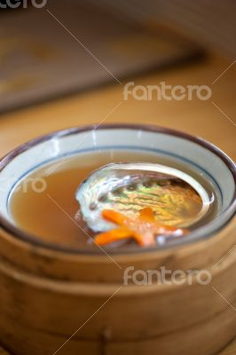 Japanese style abalone soup empty shell