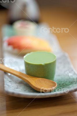 Japanese style green tea pudding