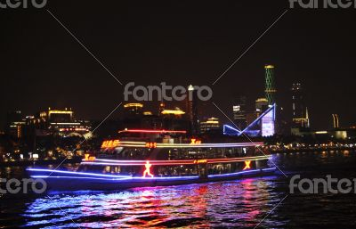 Ship moving by Pearl river in the night