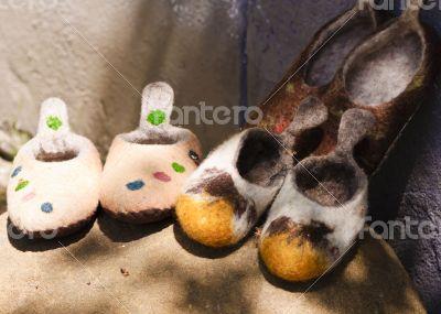 Handmade wool slippers