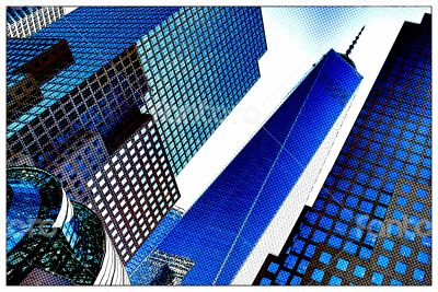 Blue Pop Art Skyscrapers, NY