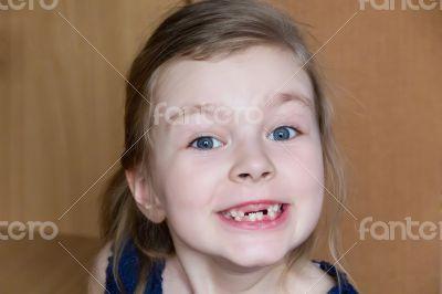Girl makes faces