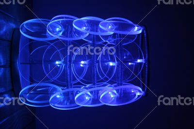 Blue led lights in night