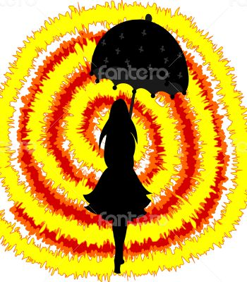 Black silhouette of a girl with umbrella