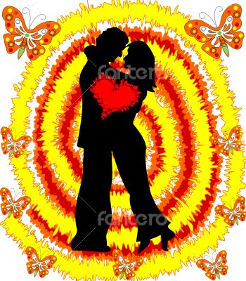 Loving couple man and woman on abstract bright