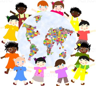 Children of different around races  planet