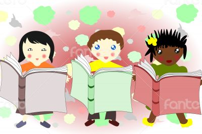 Children of different races reading a book