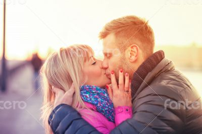 Kissing european couple