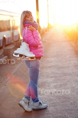 Figure skater girl on the bridge