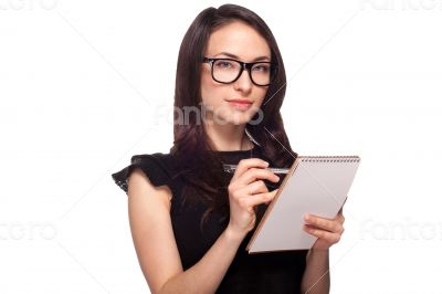 University student in glasses with notepad