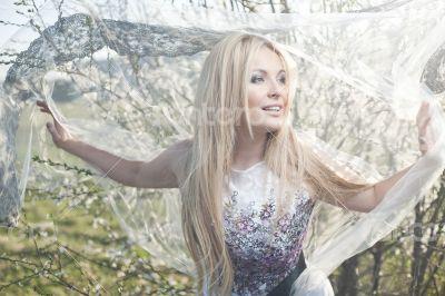 Spring lace dress fashion blonde woman