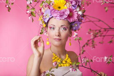 Flower hat spring fashion sexy female in dress