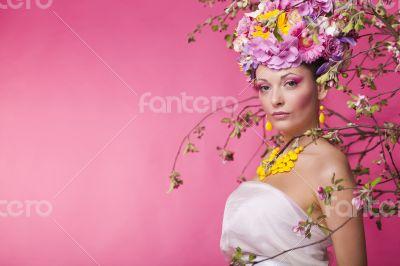 Woman flower banner advertisment template