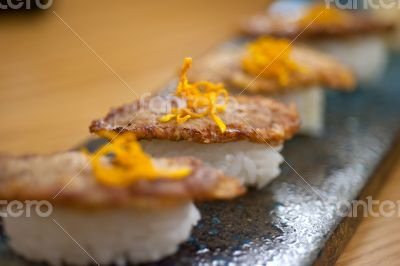 Japanese style sushi fried goose liver