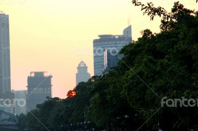 Sunset over Pearl river. Summertime evening in Guangzhou