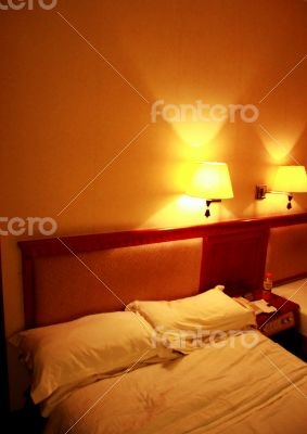 Inside bedroom in evening time in soft colors