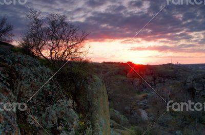 Sunrise at canyon and dramatic sky