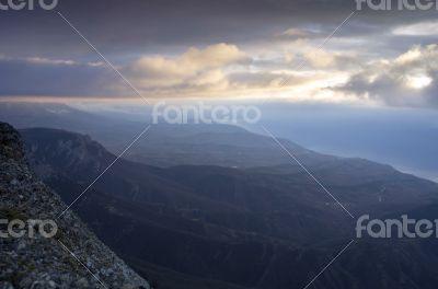 clouds on the mountain.  Crimea, Ukraine