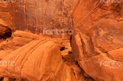 Rocks of Monument Valley, side of a mountain