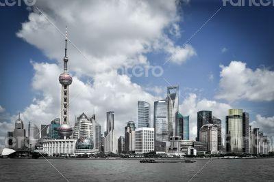shanghai pudong skyline, China